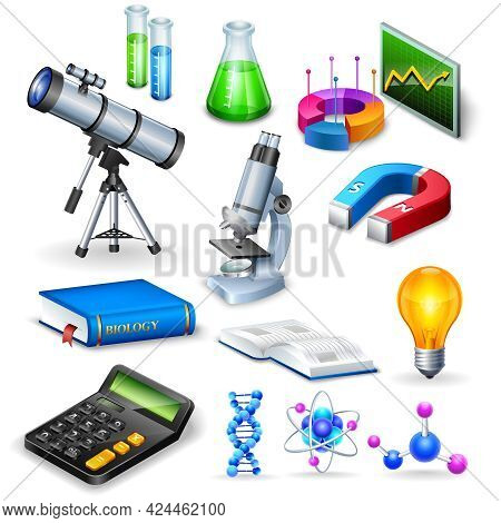 Science Realistic Icons Set With Microscope Calculator Telescope Magnet  And  Models Of Substance Mo