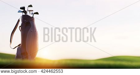 Golf clubs in bag at golf course resort at sunset. 3D render
