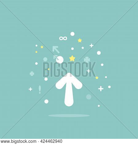 White Cartoon Arrow Up With Signs, Dots And Stars On Blue Background. Launch, Upgraid Icon. Creative