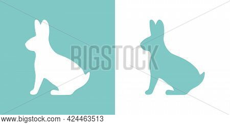 Cute Vector Illustration Of A Hand Drawn Rabbit On A White And Pastel Turquoise Background, Flat Car