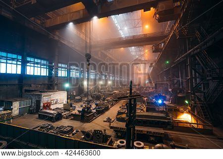 Metallurgical Plant. Industrial Steel Production. Steel Mill Factory Foundry.