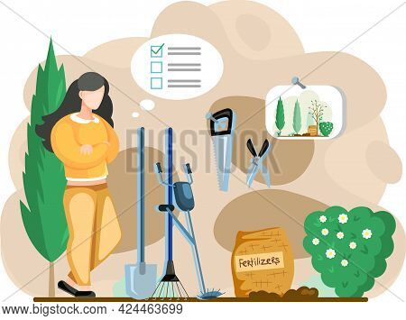 Gardener Landscape Designer Woman Standing In Garden With Trees Or Barn With Tools With Inventory Li