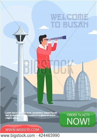 Welcome To Busan Travel Poster With Man Stands On Gray Mountain And Looks Through Telescope. Guy On