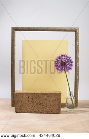 Minimal Composition Of Brick Podium, Wooden Frame And Purple Flower, Earthy Colors. Template, Mockup