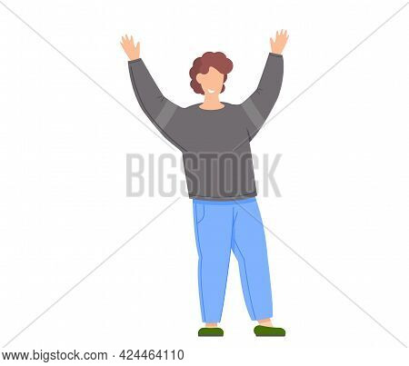 Man Celebrates Something. Happy Guy Excited By Success. Male Character With His Arms Raised Up. Cele