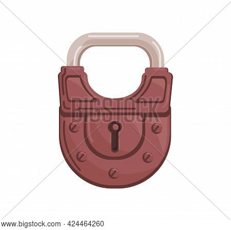 Hanging Closed Iron Colored Padlock With Locked Metal Shackle And Keyhole. Realistic Protecting Mech