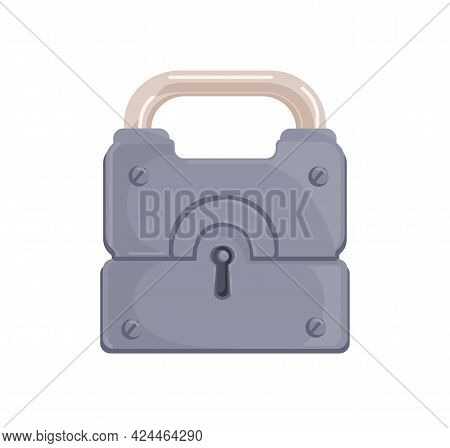 Hanging Locked Iron Padlock With Closed Metal Shackle And Keyhole. Realistic Protecting Mechanism Fo