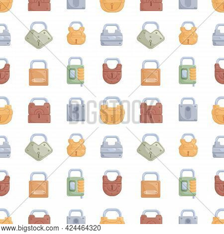 Seamless Pattern With Rows Of Metal Locked Closed Padlocks Of Different Shapes On White Background.