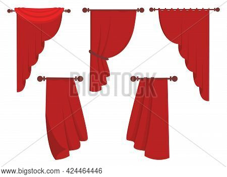 Red Curtains Flat Illustrations Set. Drape And Lambrequins Of Heavy Fabric. Flat Icon. Vector Illust