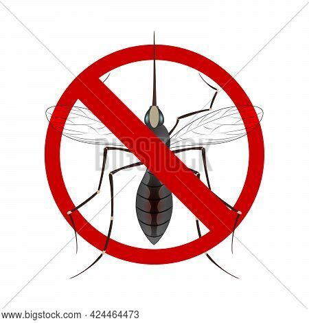 Stop Mosquito Sign Isolated. Anti Mosquito Sign With A Realistic Mosquito. Vector Image Of A Mosquit