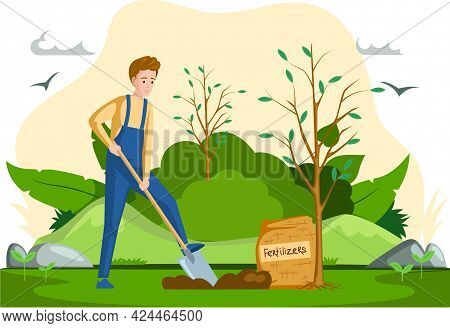 Man With Shovel Digging Hole In Garden. Man Buries Seedling In Ground For Planting Trees. Profession