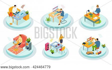 Businessman Talking On Phone In Office, Working At Table With Laptop. Interior Office Room Workspace