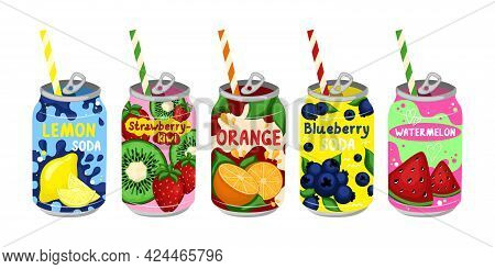Cartoon Color Various Tasty Sodas Set. Vector. Carbonated Water With Different Fruit Flavors. Kawaii
