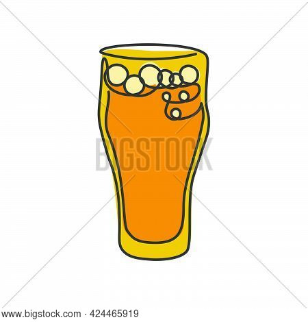 One Line Drawing Beer Glass On White Background. Cartoon Graphic Sketch For Celebration Design. Cont