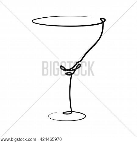Martini Wineglass On White Background. Graphic Arts Sketch Design. Black One Line Drawing Style. Han