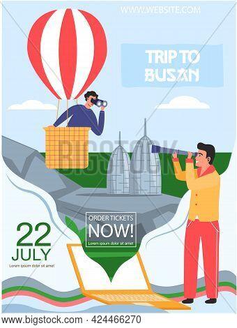 Trip To Busan Travel Poster With Man In Hot Air Balloon Looks Through Binocular In South Korea. Trav