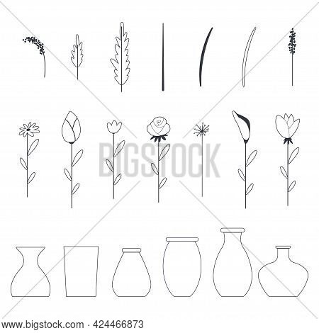 Flowers And Vases Vector Outline Icons Set Isolated On A White Background.