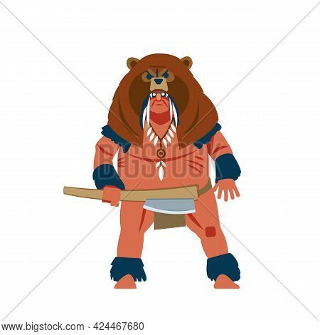 Warrior Of South America, Mayan, Aztec Or Inca Barbarian Warrior With War Mask, Wearing A Bear Helme