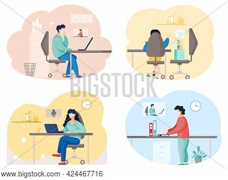 Business Partners Communicating, Using Video Calling. Men Discuss Work Issues From Distance Sitting