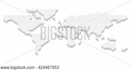 3d Grey Isometric Map Of World. Simplified Vector Illustration