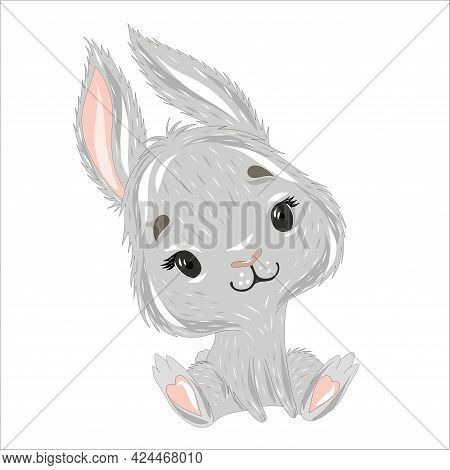 Gray Rabbit Or Hare On A White Isolated Background. Easter Bunny On A Postcard. Vector Illustration
