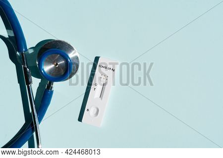 Nasal Antigen Covid 19 Test With Mask And Stethoscope