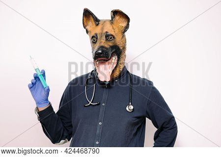 Person With A Dog Mask, Latex Gloves And Stethoscope Shows A Syringe On White Background, Concept Of