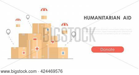 Humanitarian Aid - Charity Concept With Cardboard Boxes. Banner For Collecting Help. Isolated Flat V