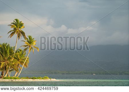 Tiny Tropical, Uninhabited Island With Coconut Palm Trees And White Sand Beach With Copy Space. Vaca
