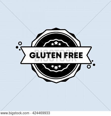 Gluten Free Badge In Black. Vector. Gluten Free Stamp Icon. Certified Badge Logo. Stamp Template. La