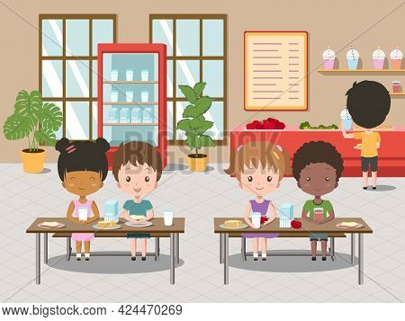 Children Eat In School Canteen. Vector Cartoon Illustration Of Cafeteria Interior With Tables, Chair
