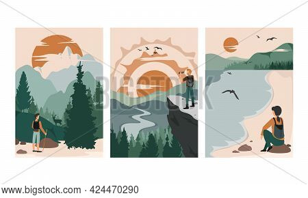 People Walk In Wild Nature Alone. Man And Woman Against The Beautiful Landscapes. Vector Concept Col
