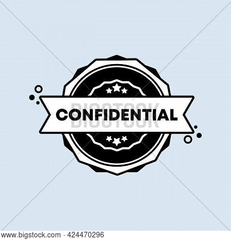 Confidential Badge. Vector. Confidential Stamp Icon. Certified Badge Logo. Stamp Template. Label, St