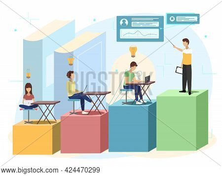 Upskilling Learn As Work Educational Qualification Rise Tiny Person Concept. Mentorship, Upskills An