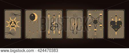 Magical Tarot Cards. Major Arcana Set Part . Vector Hand Drawn Engraved Style.
