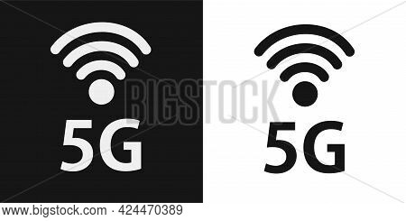 Abstract Illustration With 5g Network. Icons Set. Wireless Mobile Telecommunication Service Concept.