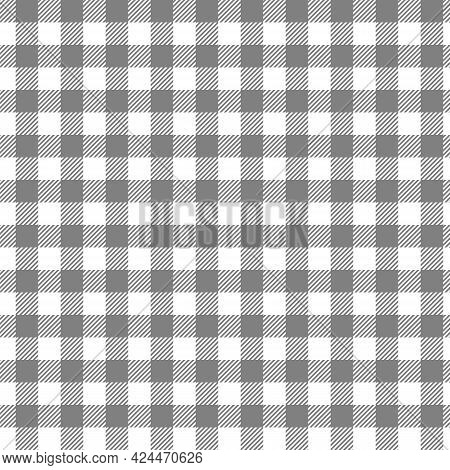 Seamless Black And White Tablecloth Pattern. Texture From For Clothes, Shirts And Blankets. Scottish