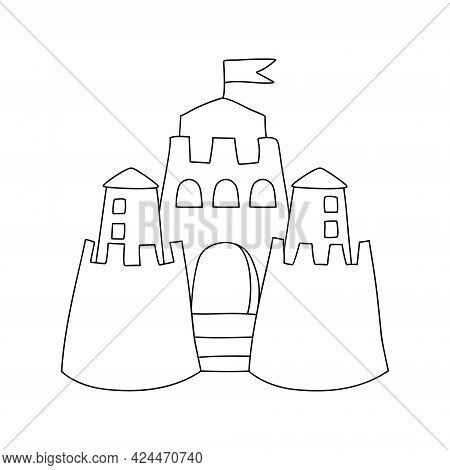 Sand Castle Simple Outline Vector Illustration On White Background