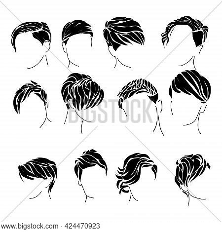Female Pixie Haircut Set Of Silhouettes, Hairstyle For Short Hair Of Various Types Vector Illustrati