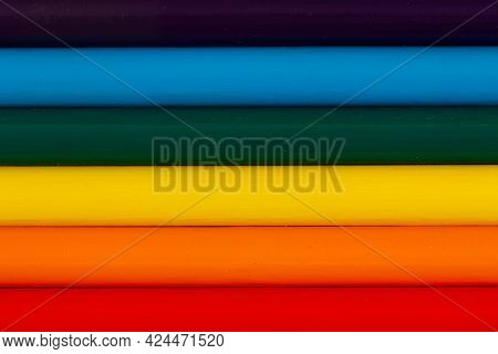 Children's Pencils For Drawing In The Form Of The Lgbt Rainbow Flag. Beautiful Rainbow Of Colorful P