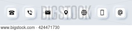 Contact Us Icon Set. Communication Symbol For Your Web Site Design, Logo, App. Mail, Phone, Globe, A