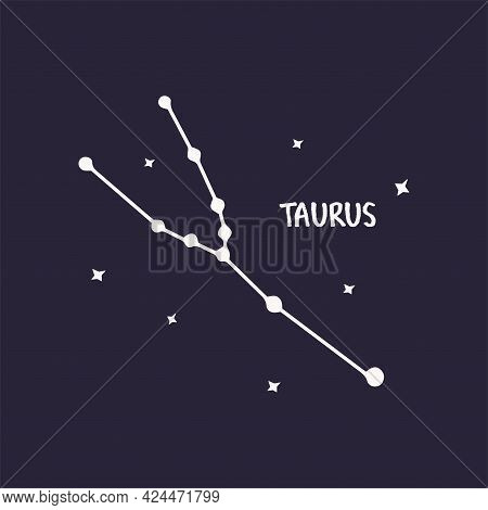 Constellation Taurus. Blue Background Print Vector Hand Drawn Illustration With Stars. Space Of The