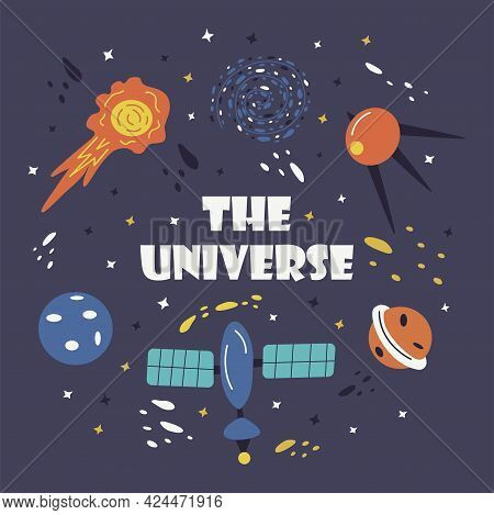 Print The Universe. Flying Meteorite, Artificial Satellite, Planet With Stars, Galactic Space Nebula