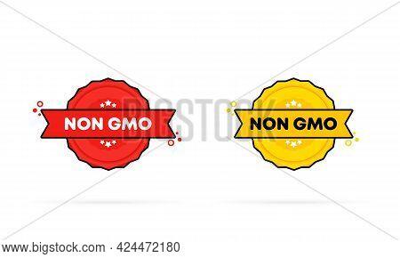 Non Gmo Stamp Set. Vector. Non Gmo Badge Icon. Certified Badge Logo. Stamp Template. Label, Sticker,