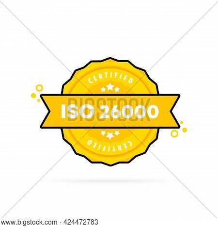 Iso 26000 Stamp. Vector. Iso 26000 Badge Icon. Certified Badge Logo. Stamp Template. Label, Sticker,