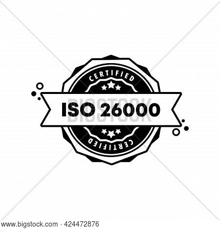 Iso 26001 Stamp. Vector. Iso 26001 Badge Icon. Certified Badge Logo. Stamp Template. Label, Sticker,