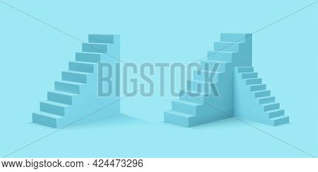 Set Of 3d Realistic Style Blue Stairs. Vector Illustration.