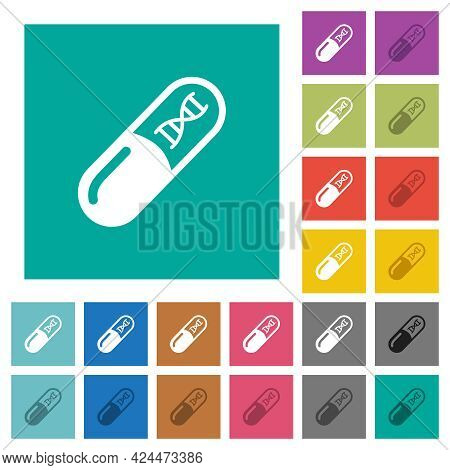 Medicine With Dna Molecule Multi Colored Flat Icons On Plain Square Backgrounds. Included White And
