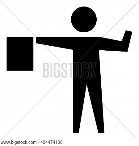 Flagger Ahead Symbol Sign Isolate On White Background,vector Illustration