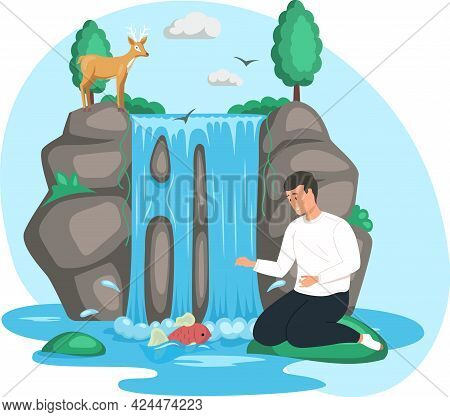 Man Sits Next To Rock And Waterfall. Clean Nature Concept, Tropical River And Beautiful Waterfall In